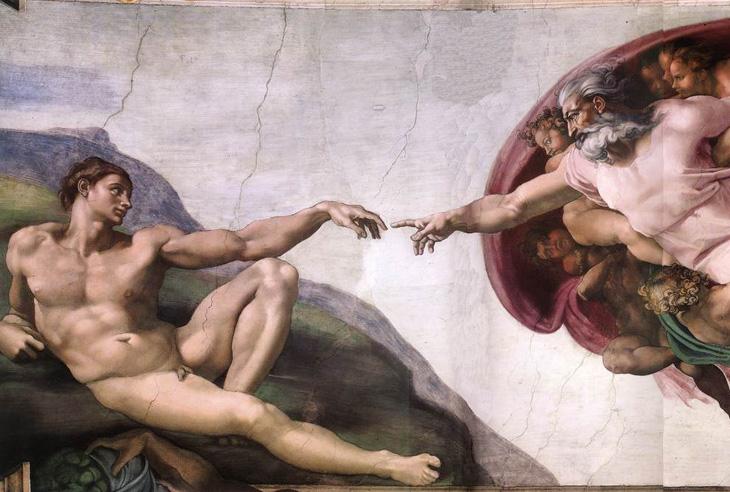 Renascença; Michelangelo Buonarroti, A criação de Adão, afresco da Capela Sistina, Vaticano, Roma, 1510.