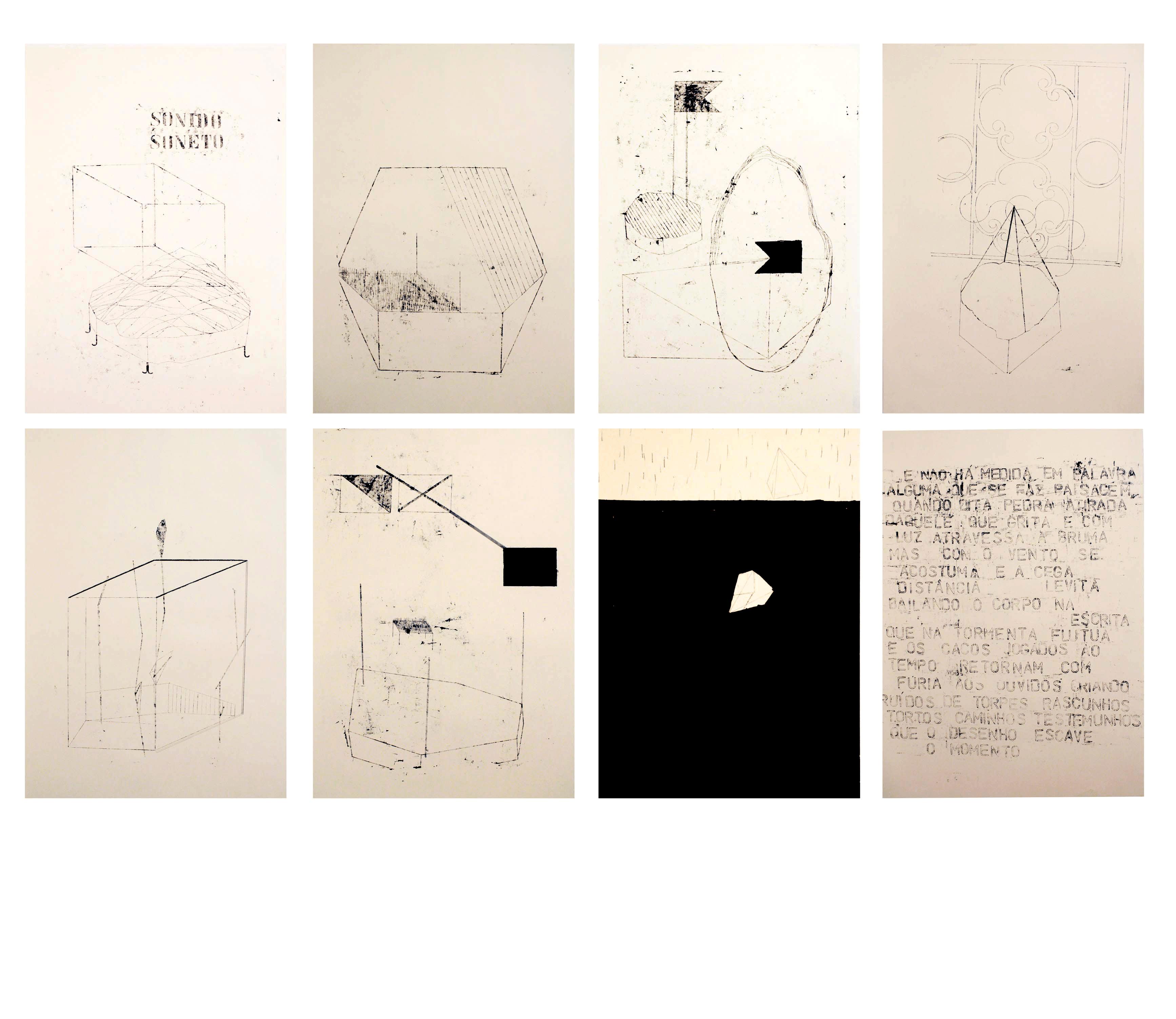 Bruno Rios, Sonido Soneto, 2014, Monotipia, lápis dermatográfico