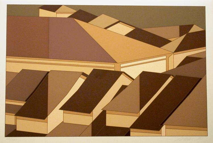 Carlos Scliar. Telhados de Ouro Preto. 1977 (serigrafia, 36x55cm)