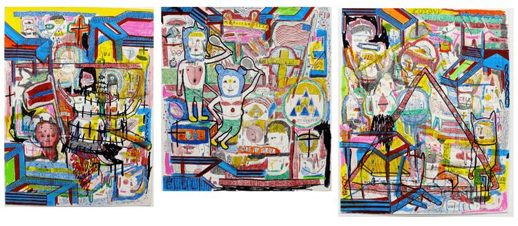 Gabriel Torggler, Miney tenista vivendo no American Dream, 2013, Nanquim, ecoline, aquarela e têmpera sobre papel