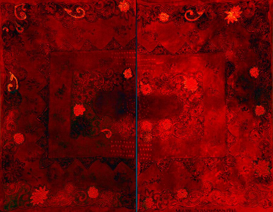 Katie Van Scherpenberger - Carmacor, 1988_toalha bordada colada em tela_Coleção João Sattamini_crédito fotográfico Paulinho Muniz
