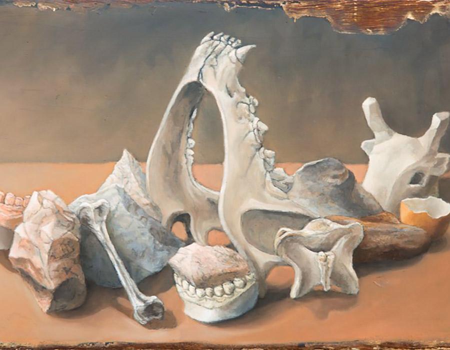 Natureza morta com ossos e pedras, 2016, Mauricio Parra_bolo armenio e óleo sobre madeira_29x44,5cm