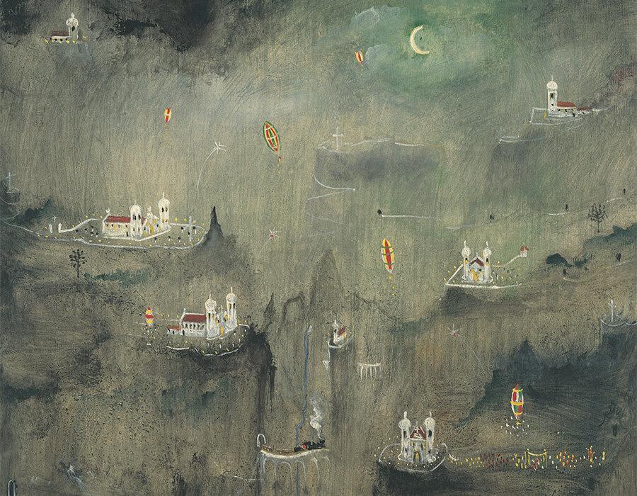 Alberto da Veiga Guignard. Noite de São João, 1961. Óleo s Madeira 50 x 46 cm 76x72x6cm c moldura. Créditos fotógrafo Pedro Oswaldo Cruz