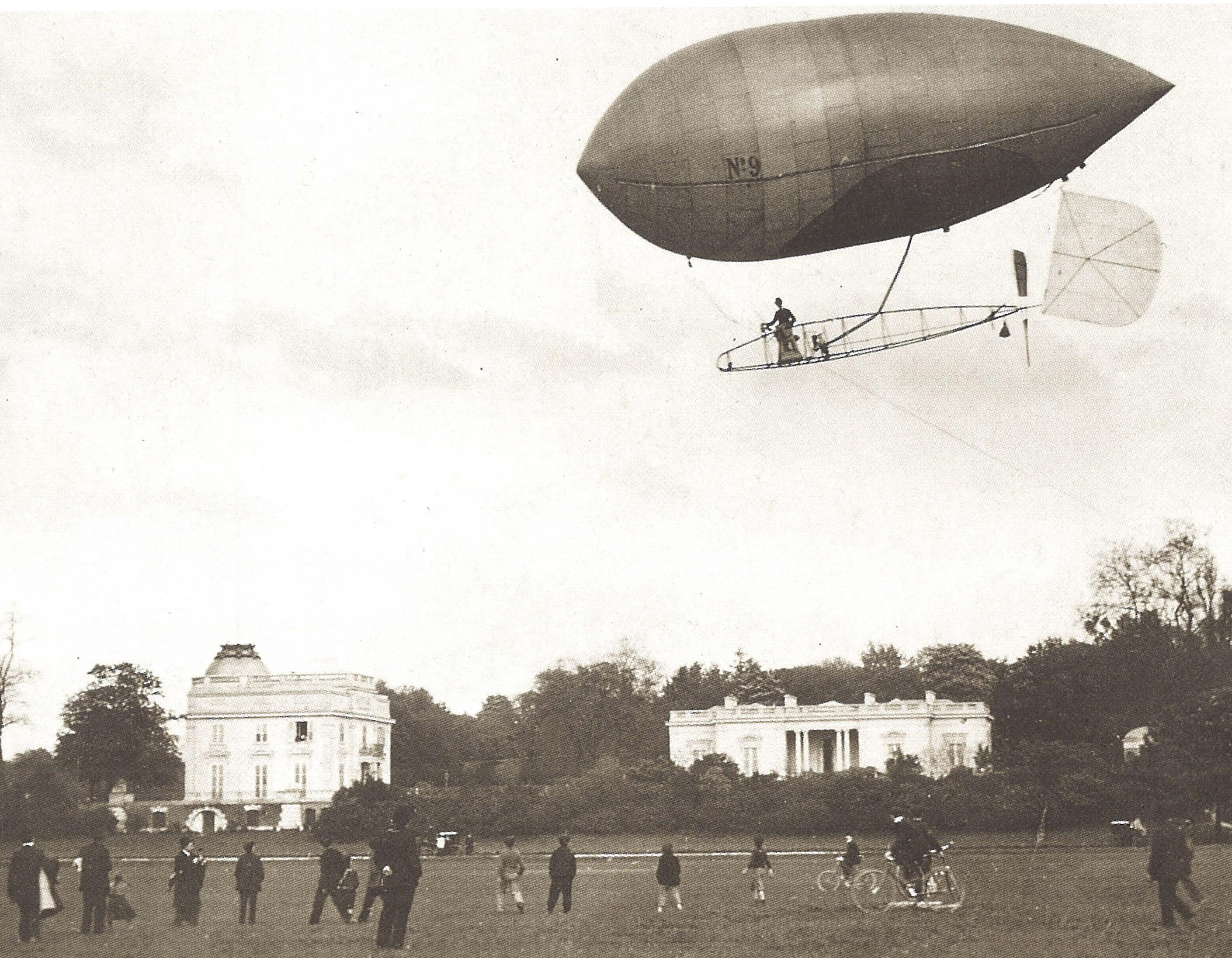 Primeiro voo do dirigivel n.9, em Bagatelle, 1903_credito divulgacao