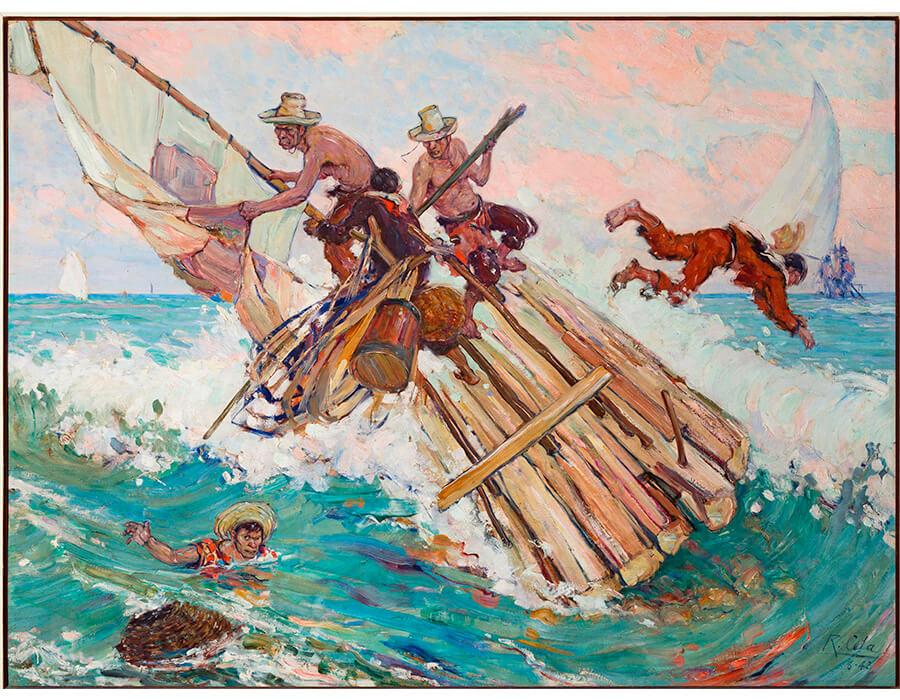 A virada, 1943, oleo sobre madeira, 99x132cm, coleção particular fortaleza-ce