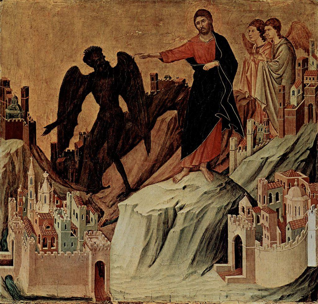 Cristo expulsa Lúcifer do Céu em pintura de Duccio di Buoninsegna (1308-1311)