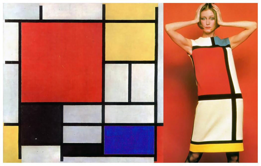 À esquerda, quadro de Piet Mondrian, de 1930; à direita, vestido tubinho criado por Yves Saint Laurent, sensação nos anos 60
