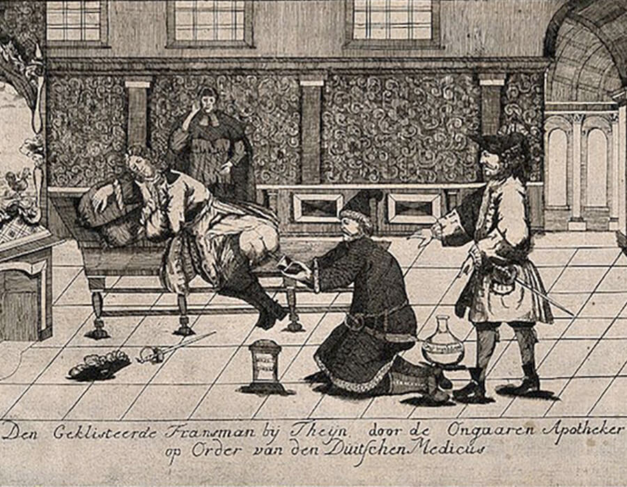 A Frenchman receiving an enema from a Hungarian apothecary by order of a Dutch doctor (1742)