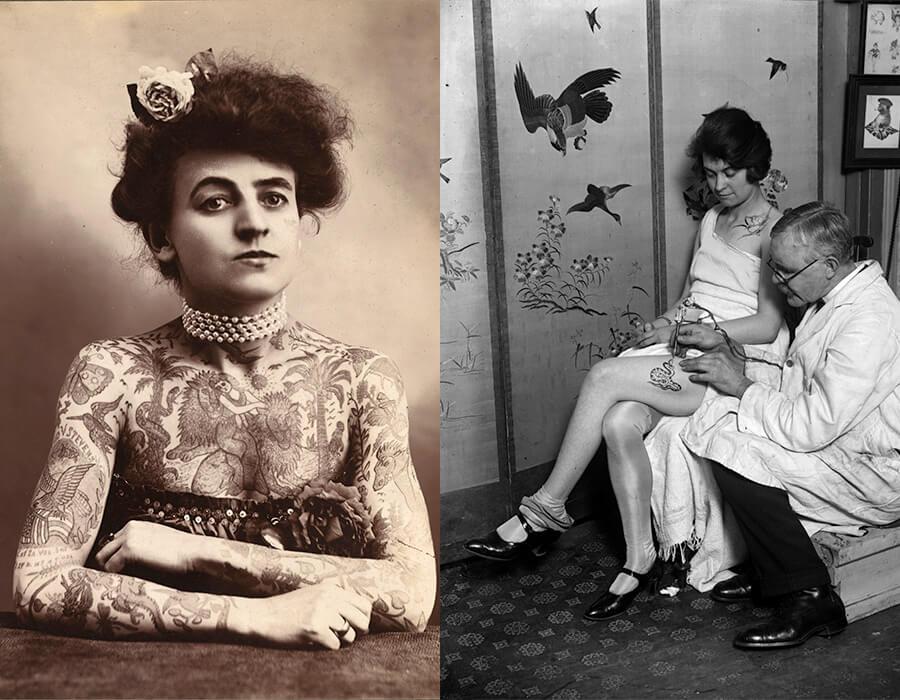 A artista de circo Maud Stevens Wagner foi a primeira mulher tatuadora famosa | Uma mulher tendo uma cobra tatuada na perna pelo tatuador George Burchett em 1928. Fotografia: Fox Photos/Getty Images