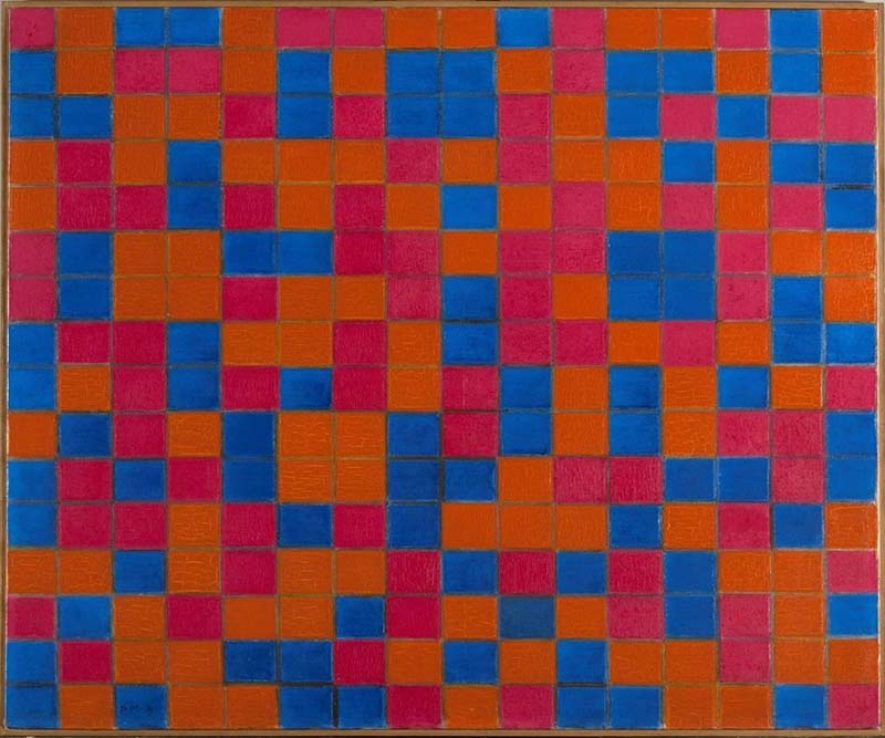 Piet Mondrian | Composition with Grid 8 - Checker board Composition with Dark Colours, 1919