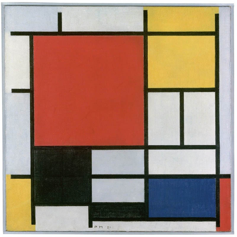 Piet Mondrian | Composition with Large Red Plane, Yellow, Black, Grey and Blue, 1921