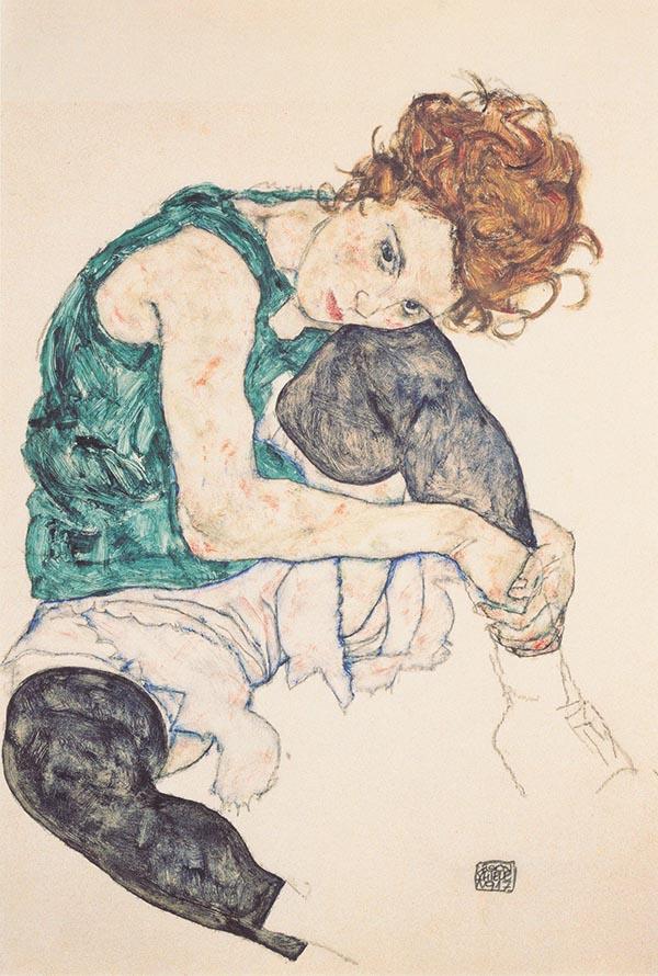 Mulher sentada com pernas dobradas (1917)