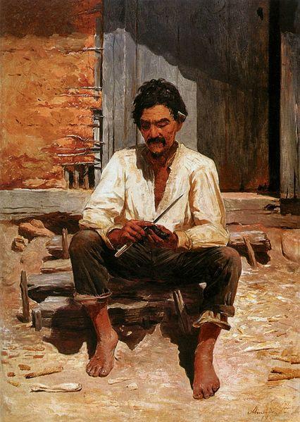 Almeida Júnior - Caipira Picando Fumo (Estudo, 1893)