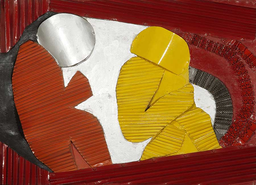 S/título (da série Astronautas), 1967. Chapa de ferro, gesso, pva e tinta sobre compensado, 82x110 cm