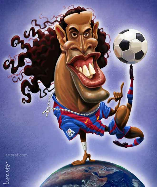 ronaldinho-gold-caricature-by-mahesh