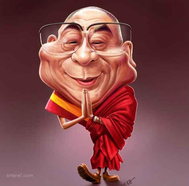 dalai-lama-caricature-by-mahesh