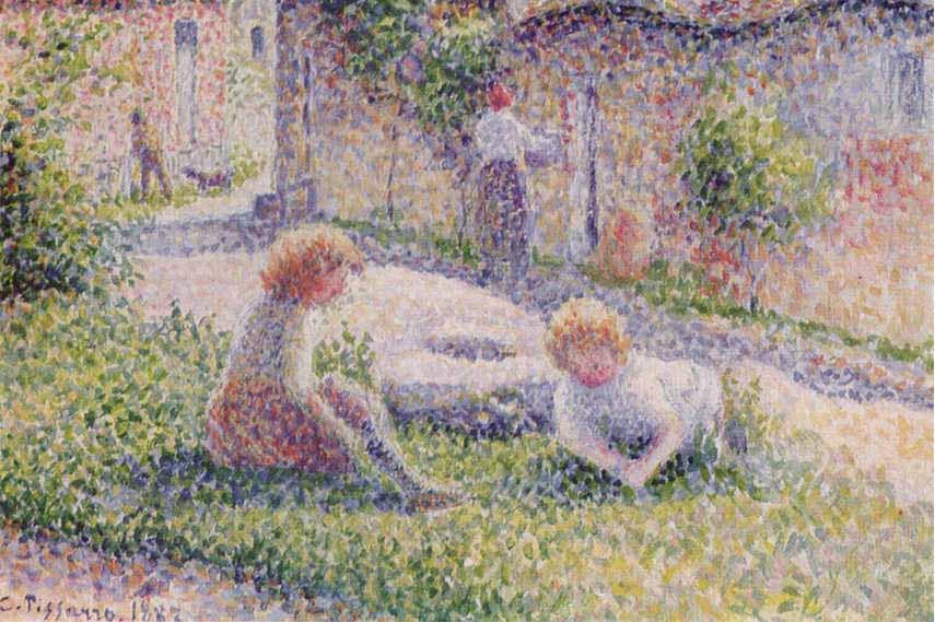 Camille-Pissarro-Children-on-a-Farm-1887-collection-of-George-Signac
