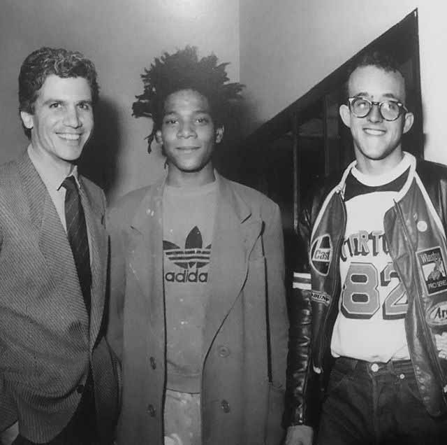 Larry Gagosian, Jean-Michel Basquiat e Keith Haring em New York, 1982