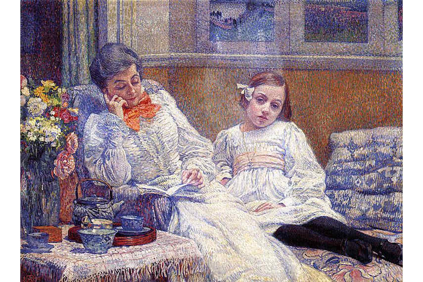 pontilhismo; Theo-Van-Rysselberghe-Femme-et-Enfant-The-Portrait-of-his-wife-Maria-and-daughter-Elisabeth