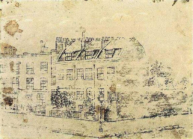 Desenho feito por Van Gogh em Londres na Hackford Road