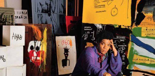 Jean-Michel Basquiat em seu estúdio Great Jones Street, Nova York, 1987