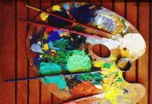 paleta com tinta a oleo