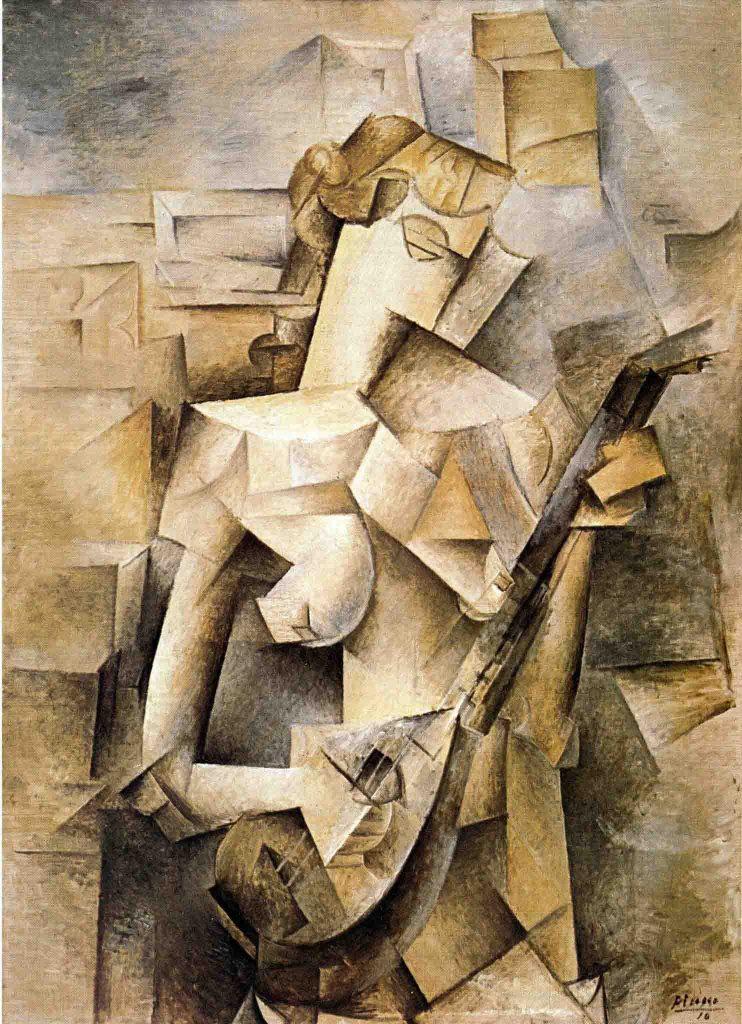 Menina com Bandolim, 1910, é um bom exemplo da fase analítica do Cubismo