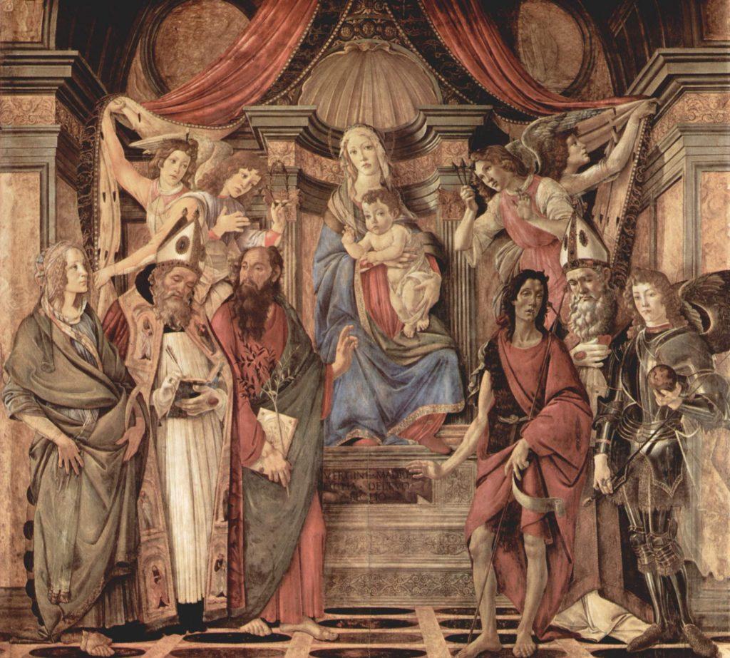 Madonna no trono com criança, quatro anjos e santos
