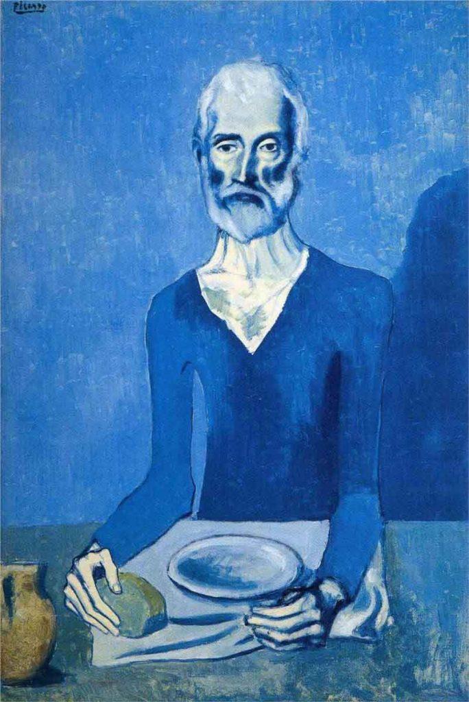O Asceta Fase Azul, 1903, representa uma das obras mais características da fase azul por fazer referência à fome.