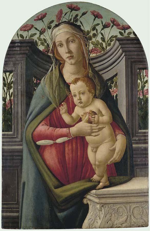 Sandro Botticelli - A-Madona-e-Criança-com-uma-romã-em-uma-alcova-com-rosas-atrás.-Cortesia-da-Christies-London.