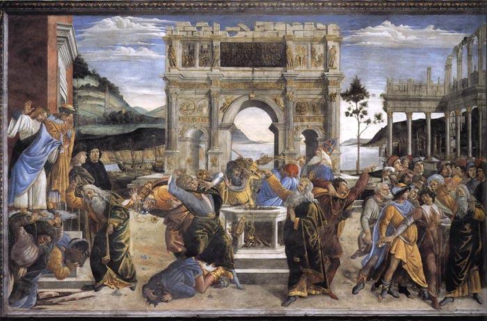 Sandro Botticelli, o castigo de Coré e o apedrejamento de Moisés e Arão, 1481-82, fresco, Capela Sistina, Vaticano