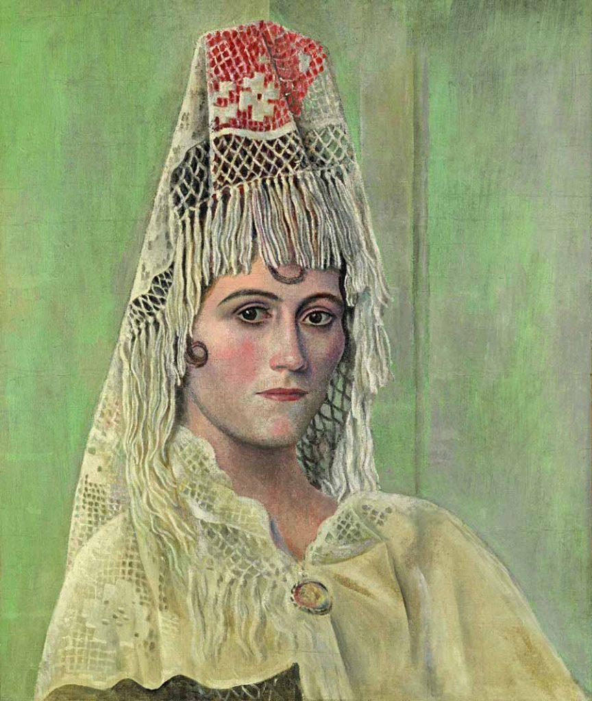 Olga Kokhlova à la mantille, 1917, retrato de sua esposa.