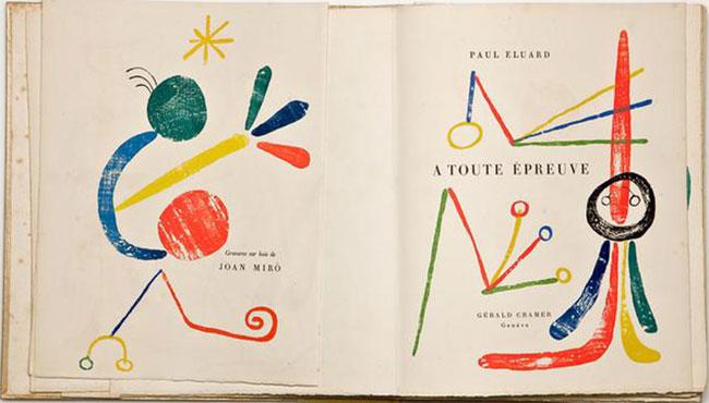 Livro de Arte de Paul Éluard ilustrado por Joan Miró