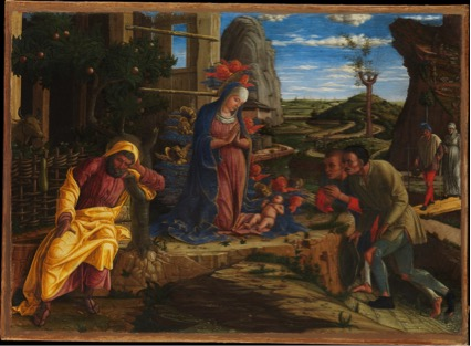 técnicas; Andrea MANTEGNA (ca. 1430-5-1506) A adoração dos Pastores, pouco depois de 1450