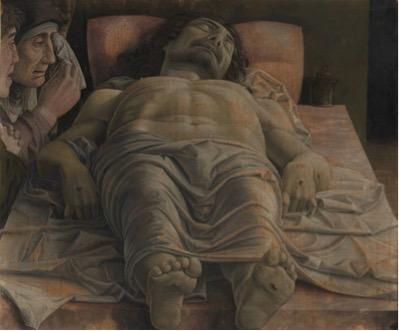 técnicas; Andrea MANTEGNA (ca. 1430-5-1506) Cristo morto no sepulcro e três carpideiras,1470-74