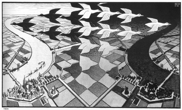 Dia e Noite (1938), de M.C. Escher