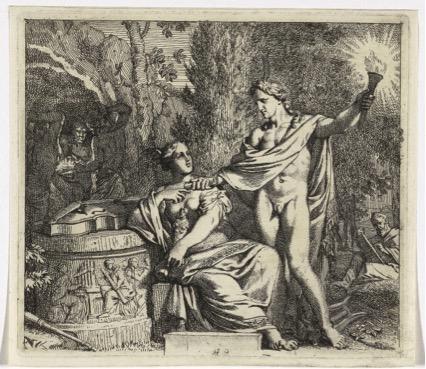 apolo; Gerard DE LAIRESSE (1641-1711) Apolo e a invenção da música, 1675. Gravura, 15,7x18. Hollstein 22 . Rijksmuseum, Amsterdã, Holanda