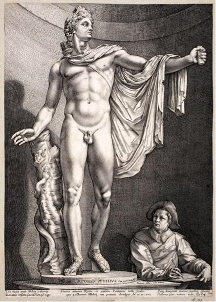 apolo; Hendrick GOLTZIUS (1558-1617) O Apolo de Belvedere, 1592. Gravura, 413 x 291. Public Domain. Statens Museum for Kunst, Copenhagen, Dinamarca