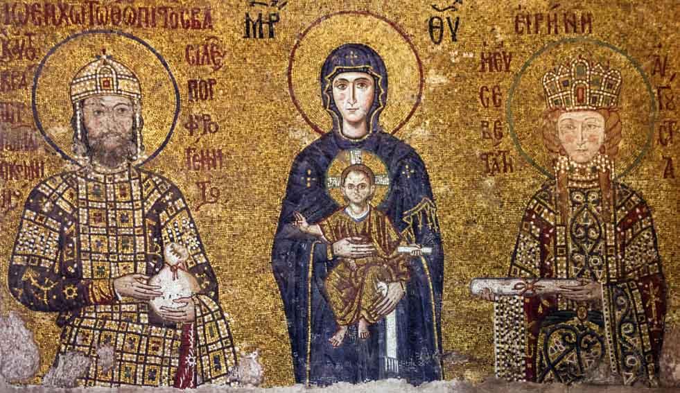 arte bizantina; Jesus no colo da Virgem Maria entre duas figuras da realeza