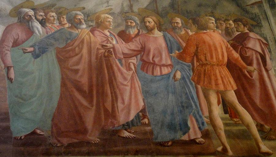 MASACCIO (1401 – 1428/9) À esquerda ao alto. Dinheiro dos Tributos, 1426 – 1427. Afresco, 255 × 598. Capela Brancacci, Igreja Santa Maria del Carmine, em Florença, Itália