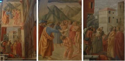O Batismo dos Neófitos, 1425-26 e Distribuição das Esmolas com a Morte de Ananias. Afresco