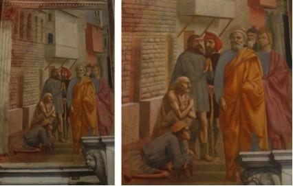 São Pedro cura os doentes com sua sombra. Afresco. Capela Brancacci, Igreja Santa Maria del Carmine, em Florença, Itália.