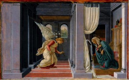 técnicas; Sandro BOTTICELLI (1444-45-1510) A Anunciação, ca. 1485-1492