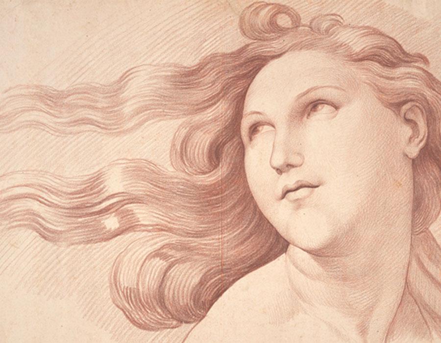 Head of Galatea, 1727–30, Edme Bouchardon after Raphael. Musée du Louvre, Département des Arts graphiques, Paris. Image © Adrien Didierjean / RMN-GP