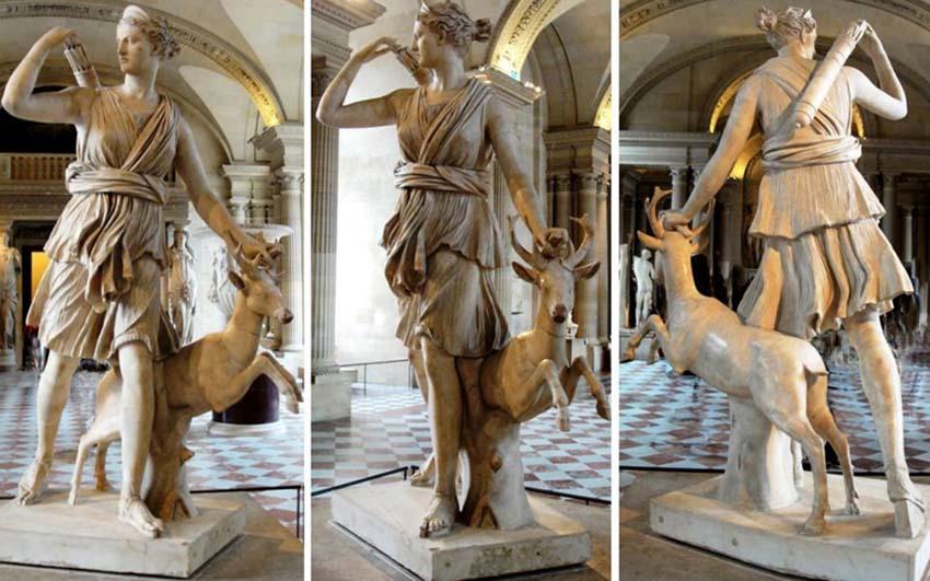 Ártemis, deusa da caça, conhecida como Diana de Versailles. Século II d.C. cópia do original grego do século IV a.C. Mármore, 2 metros.