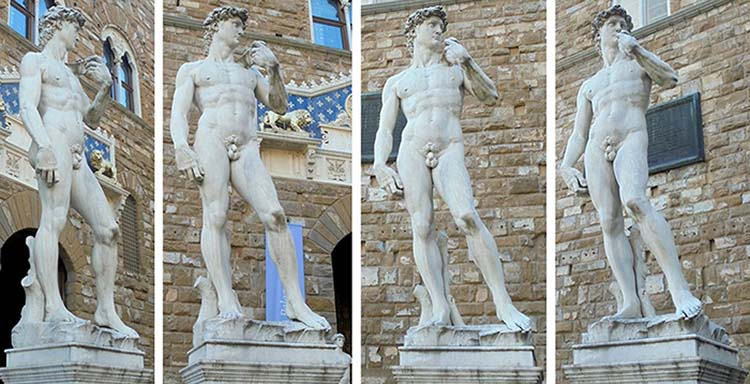 MICHELANGELO (1475-1564). Cópia. David, ca. 1501-4. Mármore, ca. de cinco metros de altura. Piazza della Signoria, Florença, Itália