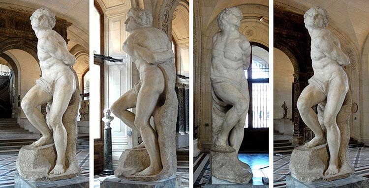 O Escravo rebelde, 1513-1516. Escultura inacabada em Mármore, 2, 13 metros de altura. Musée du Louvre, Paris, França. Disponível em: https://www.louvre.fr/en/mediaimages/captif-lesclave-mourant-michel-ange-michelangelo-buonarroti-dit Acesso em: 29 jul. 2019.
