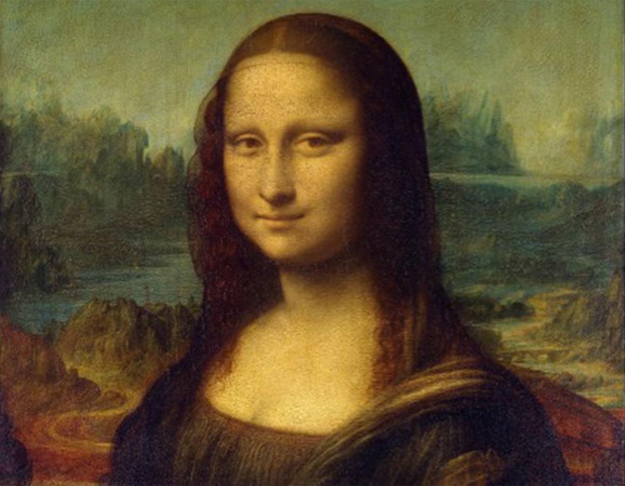 Leonardo DA VINCI (1452-1519) DETALHE- Retrato de Lisa Gherardini, esposa de Francesco del Giocondo