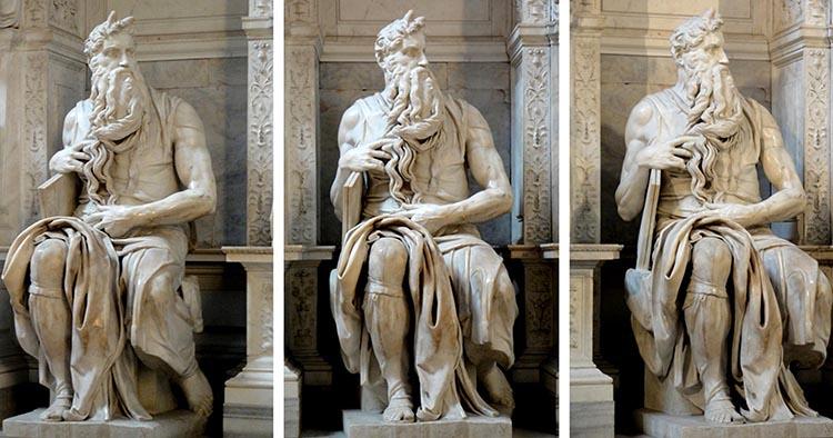MICHELANGELO (1475-1564) Moisés com as tábuas da lei, ca. 1505-1545.Escultura em Mármore, 2, 35 metros de altura. Mausoleo de Giulio II. Basilica di San Pietro in Vincoli, Roma, Itália.