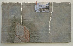 Na pele do Precário 2 ao santo do de pau oco ( conteiner ), 1999 Acrílica, chás, papelão,fotografia, cobre, alumínio, ilhós, prendedor sargento, etc (53 x 84 cm)